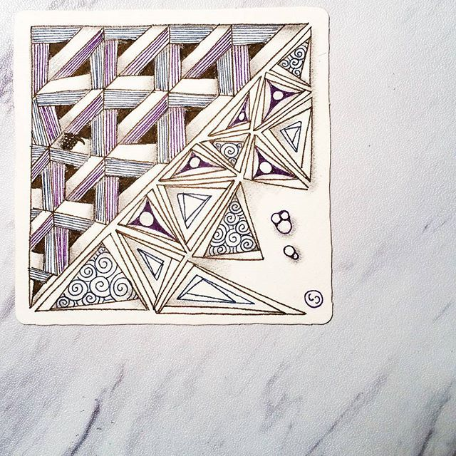 """Rick and Maria from @zentangleinc released another Kitchen Table Tangles video to the Mosaic App users in which they deconstructed an """"impossible"""" fragment. I gave it a try (top left) and added my favorite tangle, Tripoli, with some embellishments. It wasn't impossible but it definitely required super focus!"""