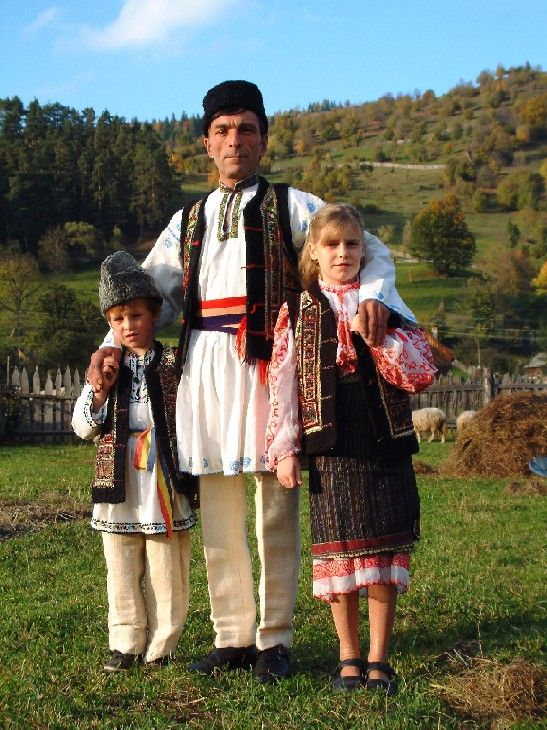 Romania, Moldova:  Romanian dresses are highly unique, presenting a variety of influences from the Turkish Muslims, Slavs, and even the Gypsies (Roma) throughout their long history. Moldovan costumes are highly similar (though also diverse) because of the common history, culture, and language Moldova and Romania (Wallachia) have shared. Many are quite regional, with Romanians in certain regions possessing costumes that look dramatically different from those in another county.