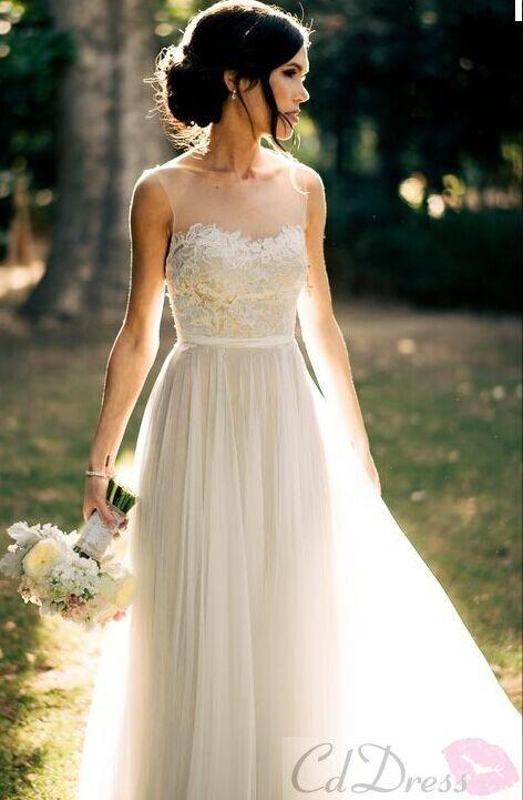 Stunning A Line Scoop Tulle Lace Appliqués formal Dress - PROM - CDdress.uk