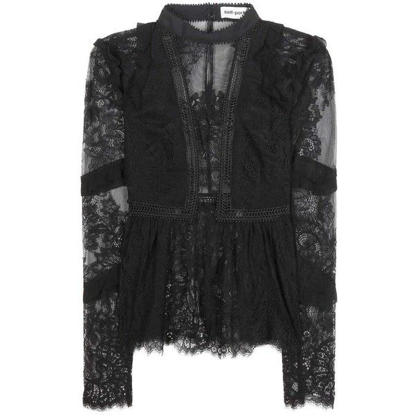 Self-Portrait Elise Lace Top (£225) ❤ liked on Polyvore featuring tops, black, self portrait top, lace top and lacy tops