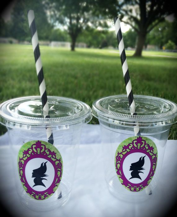 Maleficent Birthday Party Cups Favors Gifts Lids by WizysPartyShop, $15.00