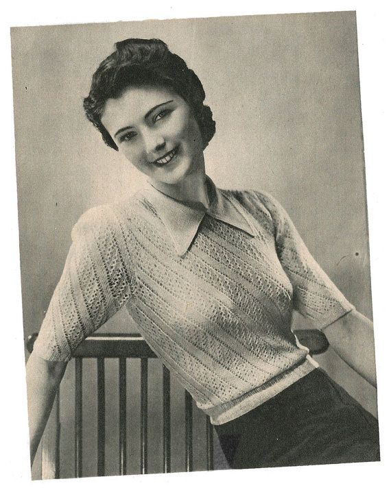 1940s Knitting Pattern for Womens Lace Blouse / Jumper - 37 38 in bust - Digital PDF