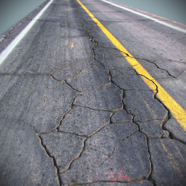cracked asphalt road 3d max