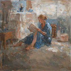 Lezen II | schilderij van een vrouw in interieur in olieverf van Flip Gaasendam | Exclusieve kunst online te koop in de webshop van Galerie Wildevuur