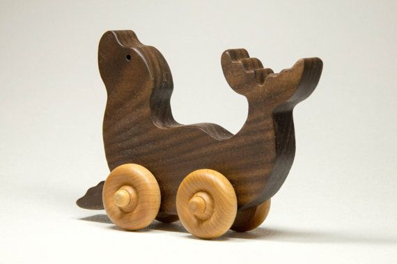 Seal Animal Children Car Toy by littlewoodenwonders on Etsy