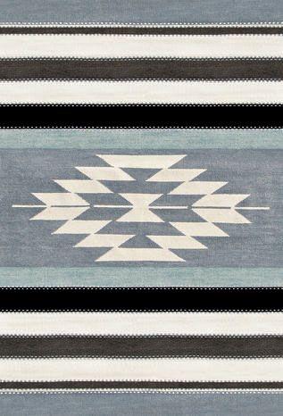 【L:130cm×190cm/(グレー)】ネイティブ柄ボーダーラグマット:ナチュラル,グレー系,Home's Style(ホームズスタイル)のラグ・マットの画像