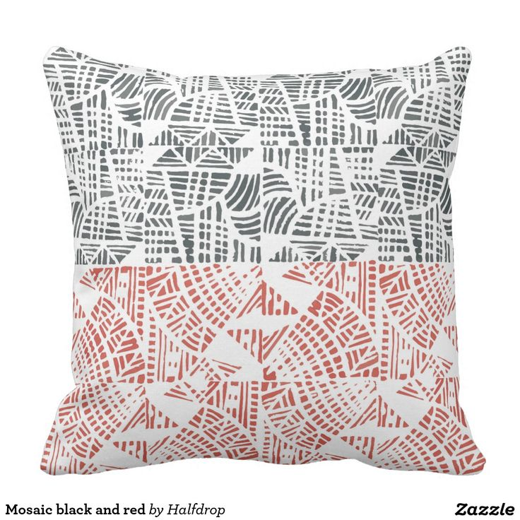 Mosaic black and red pillow linocut block print