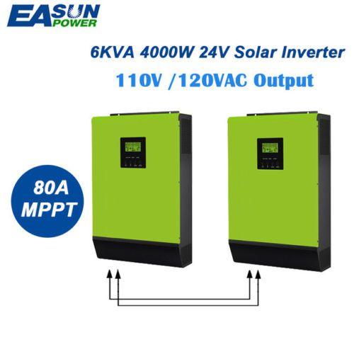 110V Grid Tie Inverter 6Kva 24V Solar Inverter 4000W MPPT Hybrid Inverters 40A