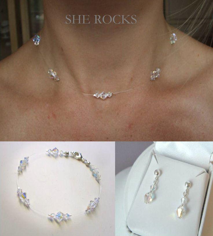 Crystal Bridal Jewelry Set Delicate Swarovski Illusion Wedding Jewellery Necklace Bracelet And Earrings
