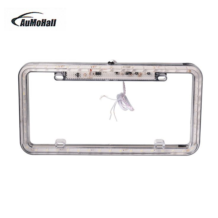 Big discount US $14.03  1Pc Universal Auto 12V LED Lighting Rear Car License Plate Cover Frame License Plate For Car Acrylic Plastic Blue White Green