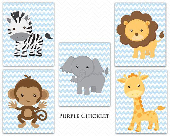 Giraffe Monkey Elephant Lion Zebra Baby by PurpleChickletPrints