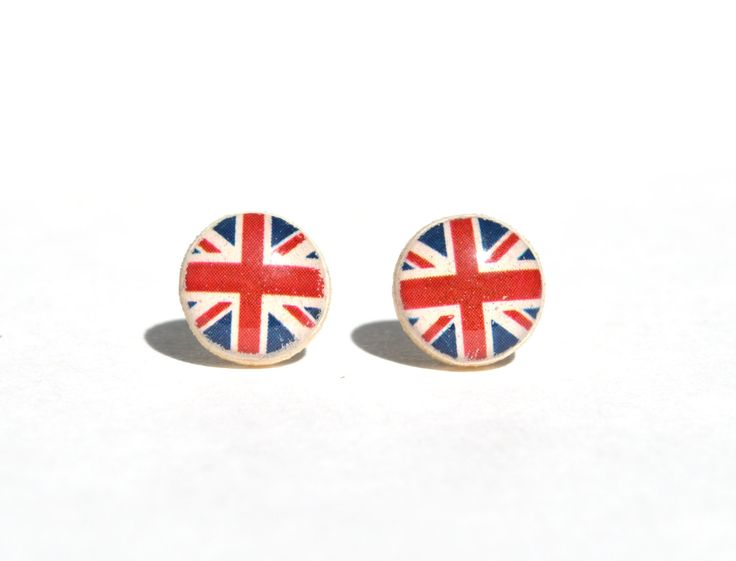British flag studs,  union jack stud Earrings, patriotic british flag jewelry, minimalist jewelry, gift for her eco-friendly by starlightwoods on Etsy https://www.etsy.com/listing/158778466/british-flag-studs-union-jack-stud