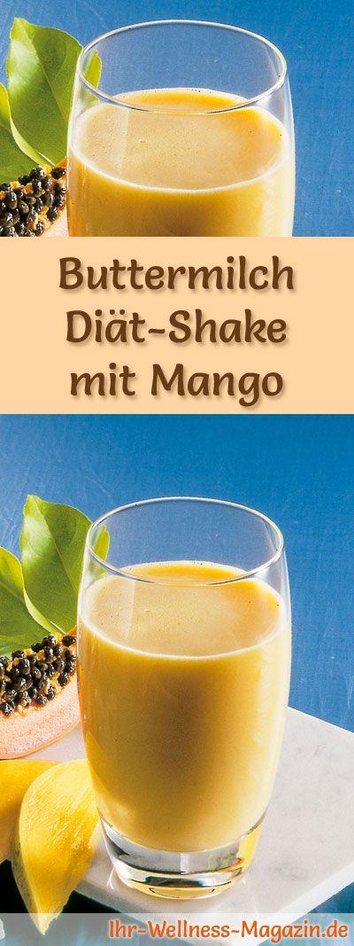 Buttermilch-Shake mit Mango - ein Rezept mit viel Eiweiß und wenig Kalorien, perfekt zum Abnehmen, gesund und lecker ...