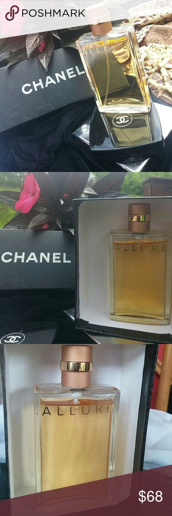Authentic CHANEL Allure Perfume Clean and sheer, warm and sexy authentic Chanel Allure perfume. Difficult to define; impossible to resist.  An elegant and luxurious spray. Only a few sprays used and a lot more left. Bottle size 50ml. 1.7 fl. oz. Made in Paris. CHANEL Accessories