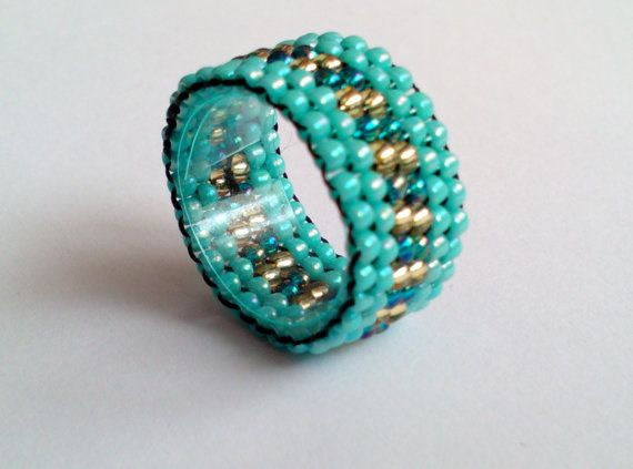 Turquoise Gold Teal Toho Bead Ring  Beadwoven by DeerestJewelry