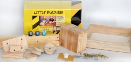 Order this DIY TRUCK with a paint set, hardware, glue and a building plan from kobus@littleengineer.co.za @ R220.  Size:  230 x 90 x 120mm.