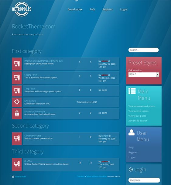 This responsive phpBB3 style has a Metro inspired design, 10 preset styles for you to choose from, a RokBB 5 framework, load transitions, 10 stylistic module class suffixes, cross-browser compatibility, and more.