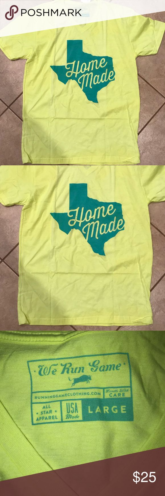 Texas Homemade short sleeved T-shirt Bright yellow short sleeved v-neck shirt with green writing. The 3rd picture shows the difference in bright green and bright yellow shirts. Tops