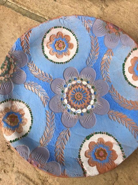 Terracotta plate - decorated with underglaze