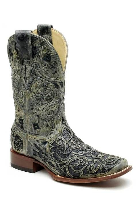 Corral Boots Men's Black Caiman Belly Laser Inlay | Cowboy Boots