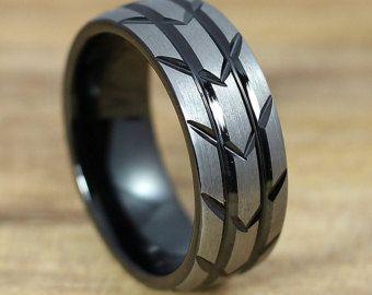 De hermosa rosa de oro anillo de bodas 8MM por AlphaTungsten