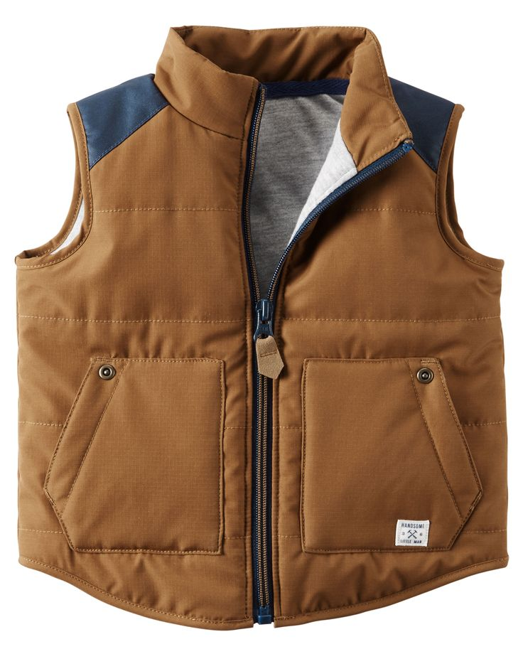 With colorblock details and slant patch pockets, this vest combines fashion with function for your little guy. Layer it over his favorite flannel for camping adventures!