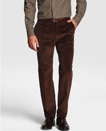 Pantalón de hombre de pana marrón