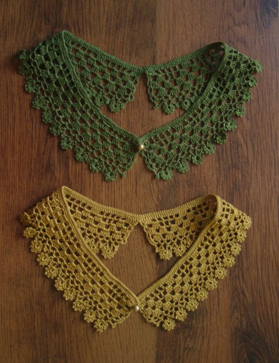 Crochet Collar Necklace - Floral edges, Handmade, Detachable in Moss Green and Aged Gold Colours - Women's Fashion and Accessories