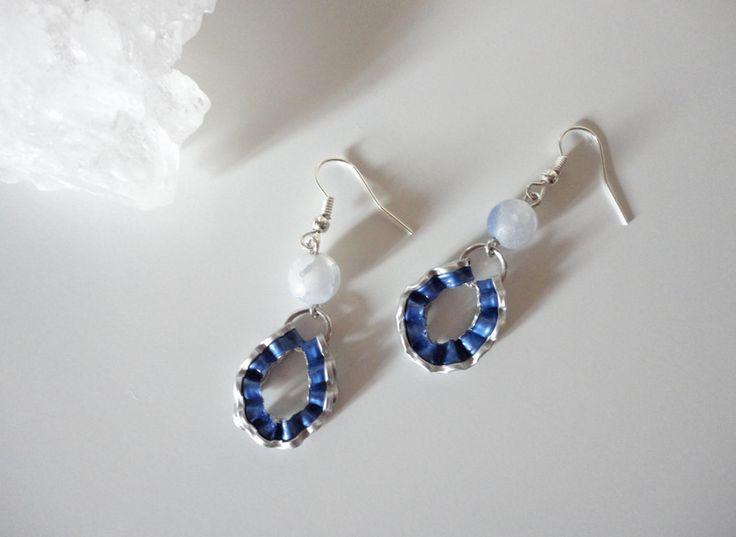 Ohrhänger - blaue Edelstein Achat Ohrringe Tropfen Nespresso  - ein Designerstück von shadisha bei DaWanda