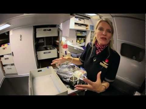 Behind the scenes with a flight attendant — International Business class service including pilot meals, which are part of their union-negotiated contract. Most planes don't have this kind of service anymore. In fact, most planes don't even have ovens anymore, this would pretty much just be for international flights like this one. In case you were wondering, flight attendants don't eat as high quality of food as the pilots do, who have a different union and contract.