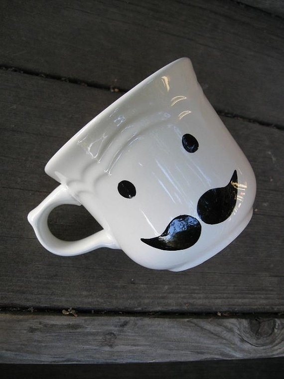 Mr Poirot Mustache teacup. This is an absolutely perfect idea for my mystery party! With the Belgian hot chocolate that Poirot loves so much.