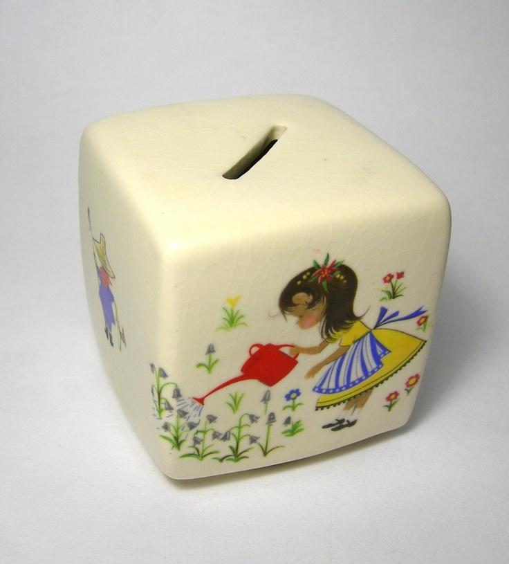 Vintage Cube Bank. $15.00, via Etsy.Kids Stuff, Vintage Wardrobe, Toys Time, Cubes Banks, Vintage Cubes