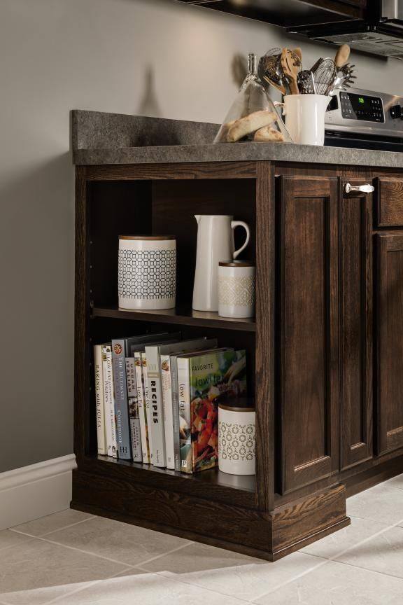 Aristokraft 39 s shallow depth open base cabinet lets you for Aristocraft kitchen cabinets