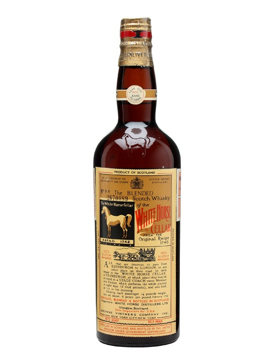 White Horse / Bot.1950s / Spring Cap - A spring cap closed brown glass bottle of White Horse blended whisky that we think was bottled in the 1950s.