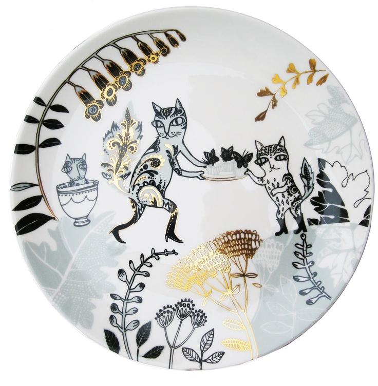 Lush Designs 'Cat plate' with lustre.: Design Cat, Cat Artworks, Catt I, Crazy Cat, Ceramics, Gold, Cat Plates, Celebrities Cat, Lush Design