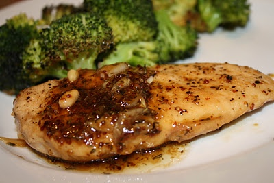 Maple-Mustard Glazed Chicken with Sesame-Roasted Broccoli
