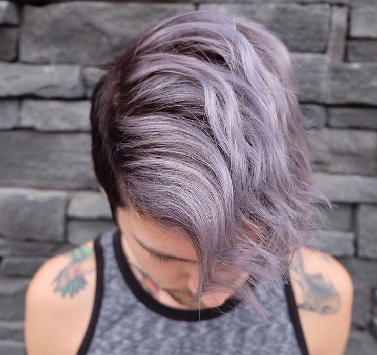 Deep violet root melting into pastel ends on short men's hair!