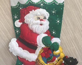Santa con Scottie Dog completado media fieltro hecho a mano de la Navidad Bucilla kit