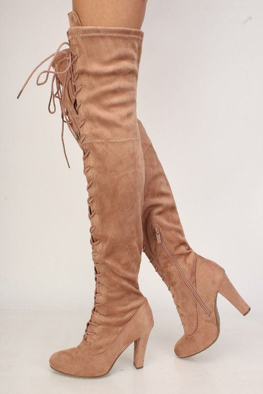 ccaaa1102fb Sexy Dusty Pink Front Lace Up Round Pointy Toe Single Sole Thigh High Heel  Boots Faux Suede