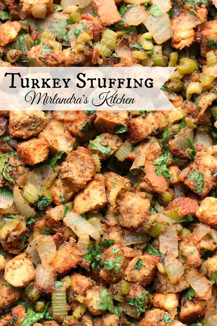 I have been asked over and over for this savory recipe.  From scratch turkey stuffing full of flavor with plenty of veggies.  This can be made in advance and goes great with any roasted poultry.  The key here is homemade bread or a high quality store bought.  When you can make something this good why buy stovetop?