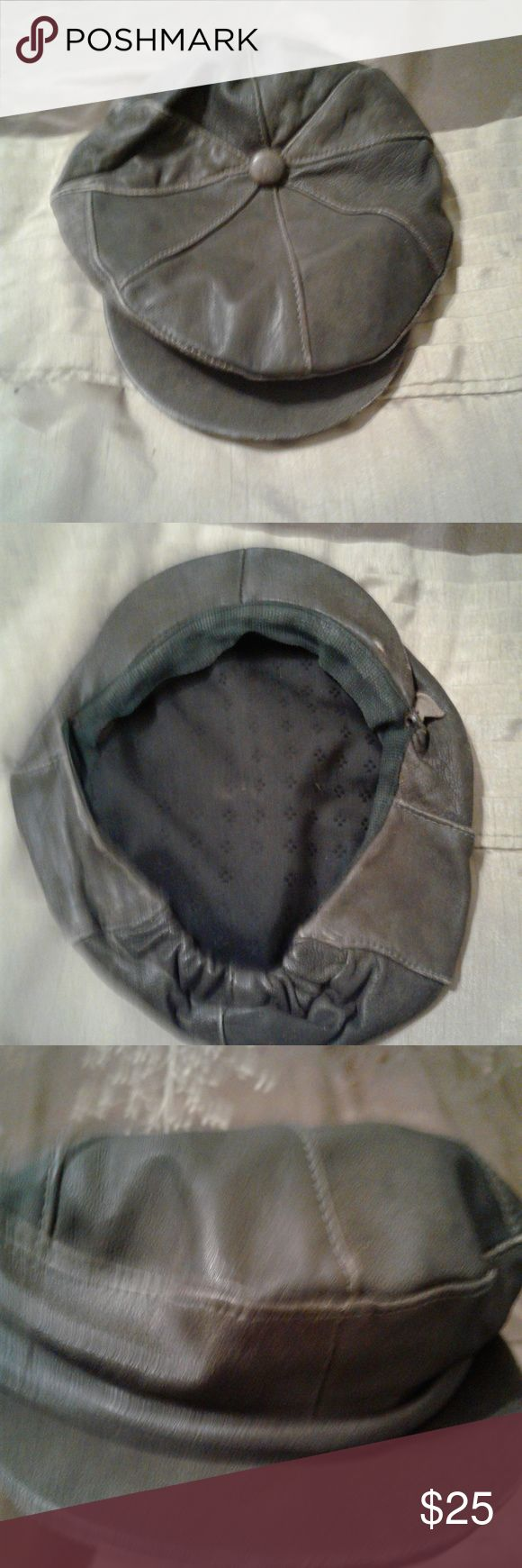 DISTRESSED LEATHER DRIVING CAP DISTRESSED LEATHER DRIVING CAP. Add the finishing touch with this leather hat. Size medium/large. Compare to: https://www.wilsonsleather.com/product/wilsons-leather-distressed-leather-driving-cap.do?sortby=ourPicks&from=fn Accessories Hats