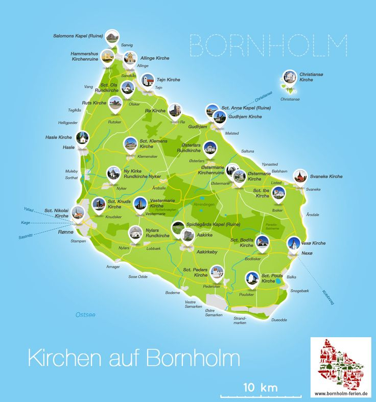 Karte aller Kirchen auf Bornholm #karte #kirchen #kapellen #bornholm