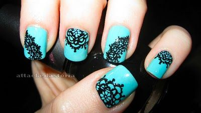 Through the Wormhole: Lace nails  sinful colors black on black nicole by opi my lifesaver lace manicure blue and black