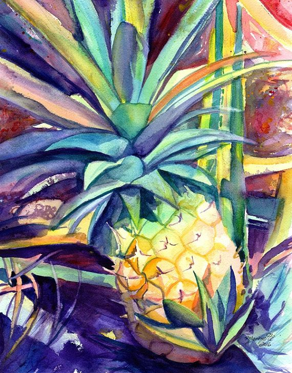 Pineapple Original Watercolor Painting, Kauai Pineapples, Kauai art, Hawaiian Pinapple Art, Tropical Decor, Hawaiian art, Pineapple Wall Art
