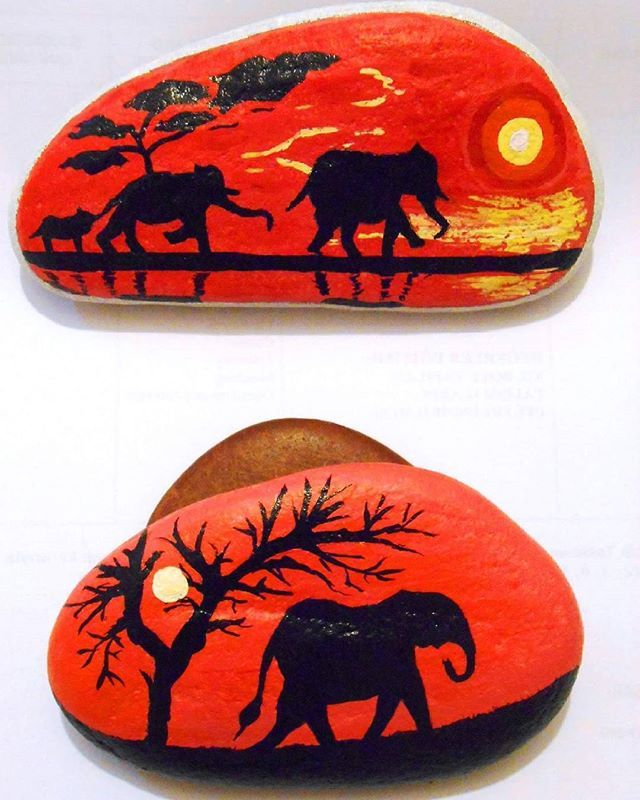 #pebblepainting #pebblelove #rockpainting #elephants #hollyanimals #elephantfamily #sunset #wildnature #africa #taşboyama #çakıltaşı #filler #filailesi #kutsal #hayvanlar #günbatımı #afrika #vahşidoğa 💞🎨💞🐘🐘🐘💞🌄💞
