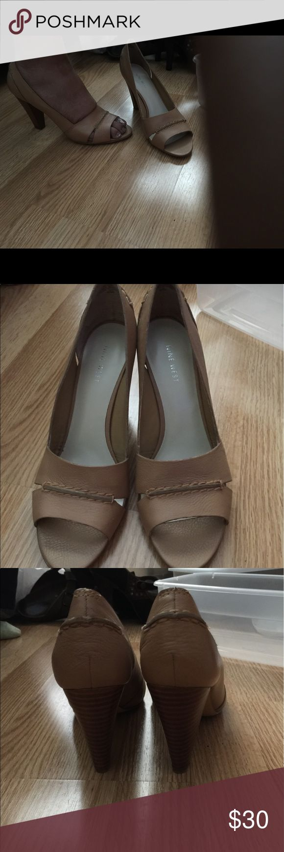 Nine West open toe tan heels 3 inches high Excellent condition nwot Nine West Shoes Heels