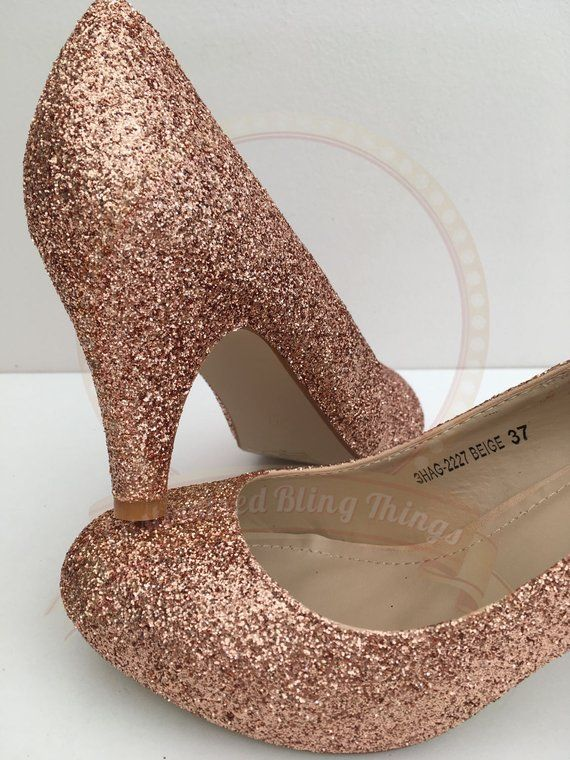 Rose Gold Bridal Bridal Glitter Heels Rose Gold Heels Gold Glitter Bridal Rose Gold Gift For Her Rose Gold Wedding Custom Made Shoes Rose Gold Heels Glitter Heels Rose Gold Shoes