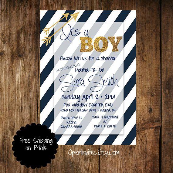 Navy Baby Shower Invitation Baby Shower Invitation Boy