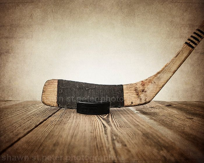 Vintage Hockey Stick and Puck on Wood  11x14 Photographic art Print... Boys Nursery Idea $26.00, via Etsy.