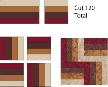 Make 30 Rail Fence quilt blocks.